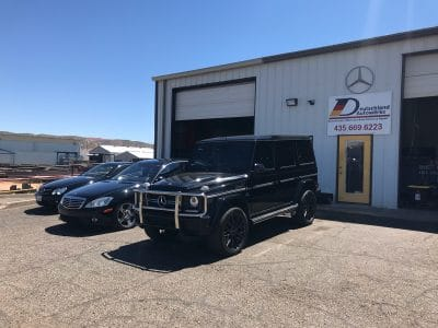 mercedes auto repair services deutschland autowerks, black coupe, black sport and black SUV serviced and repaired